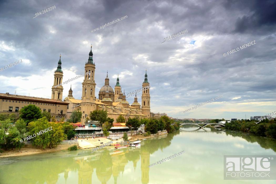 Stock Photo: Basilica of Our Lady of El Pilar in Zaragoza, Spain.