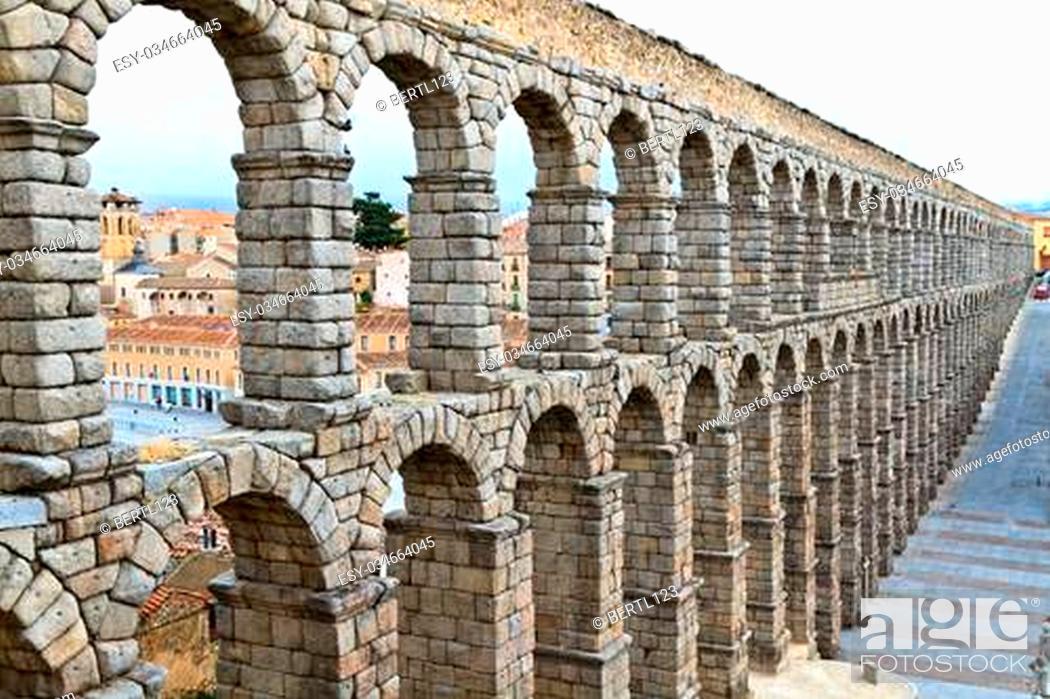 Stock Photo: Roman aqueduct in Segovia (Spain).