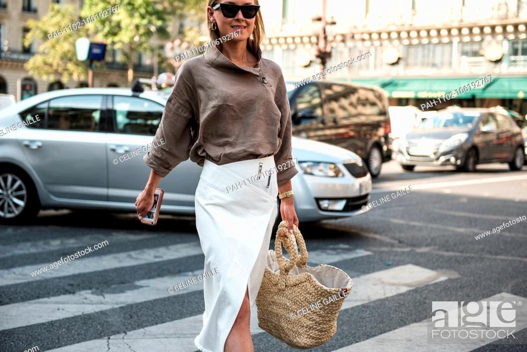 759ea12eb3 Stock Photo - Blogger Anna Borisovna attending the Schiaparelli runway show  during Haute Couture Fashion Week in Paris - July 2