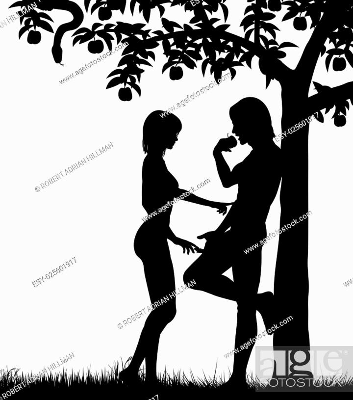 Stock Vector: Editable vector silhouettes of Adam and Eve and an apple tree with all figures as separate objects.