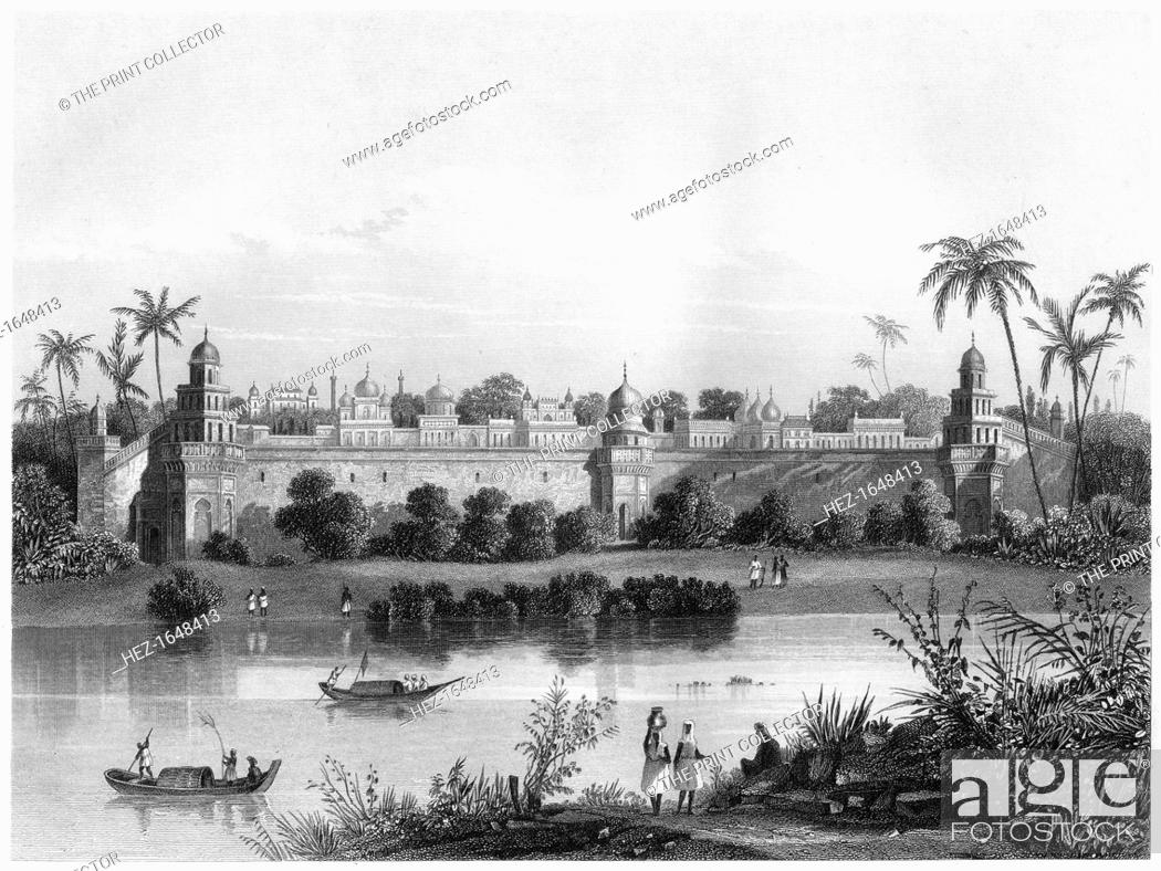 Stock Photo: 'View of the Palace of Agra, from the river', c1860. Agra in India. Illustration from The History of the Indian Mutiny, by Charles Ball, Volume IV.