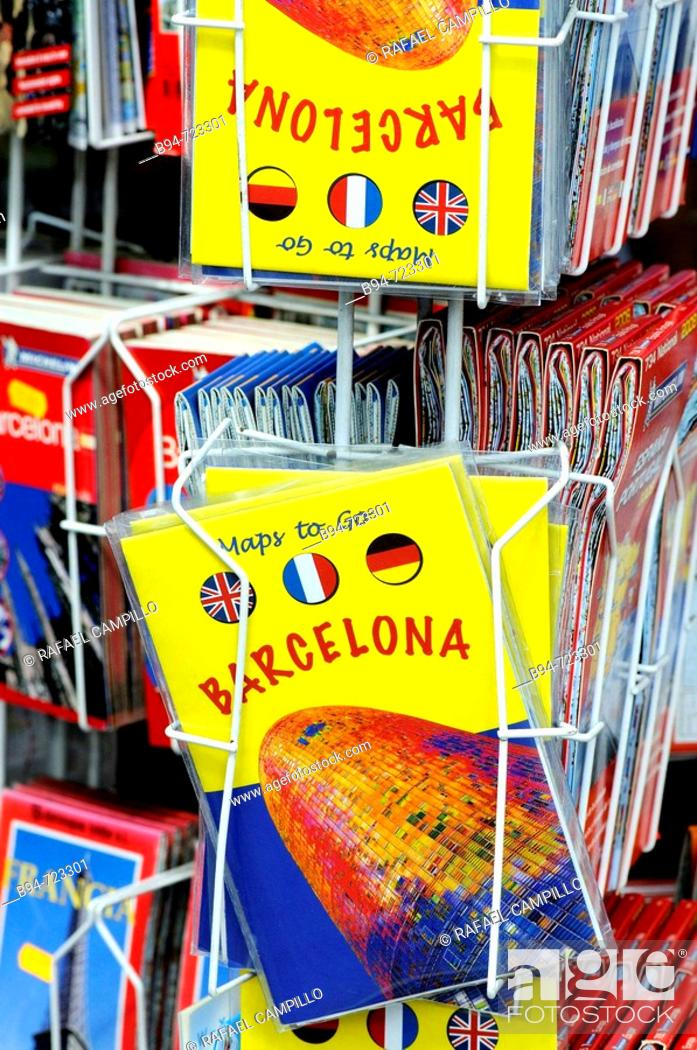 Tourist maps, Barcelona. Catalonia, Spain, Stock Photo, Picture And ...