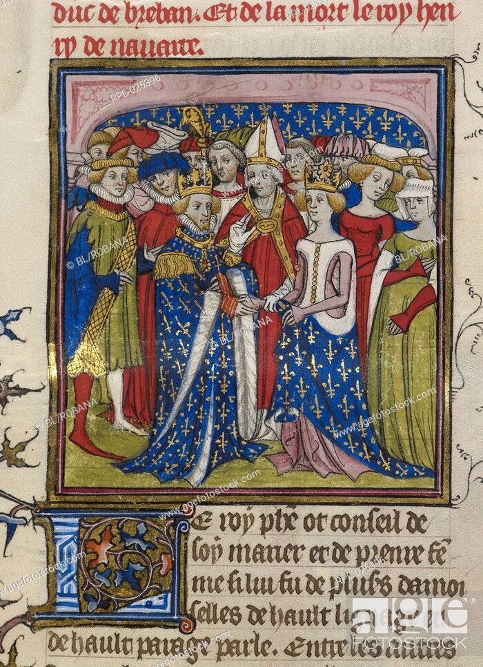 Stock Photo: Marriage of King Philip III of France to Mary of Brabant, Miniature Marriage of King Philip III of France to Mary of Brabant in 1274.