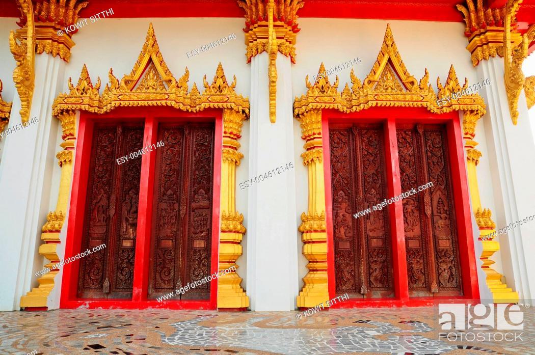 Stock Photo: Thai style temple door.