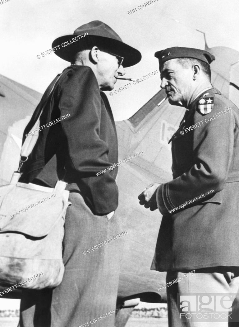 Stock Photo: Gen. Joseph Stillwell (left) with Maj. Gen. Claire Chennault, Commander, 14th US Air Force in China. August 1943. Stillwell was embarking on an informal.