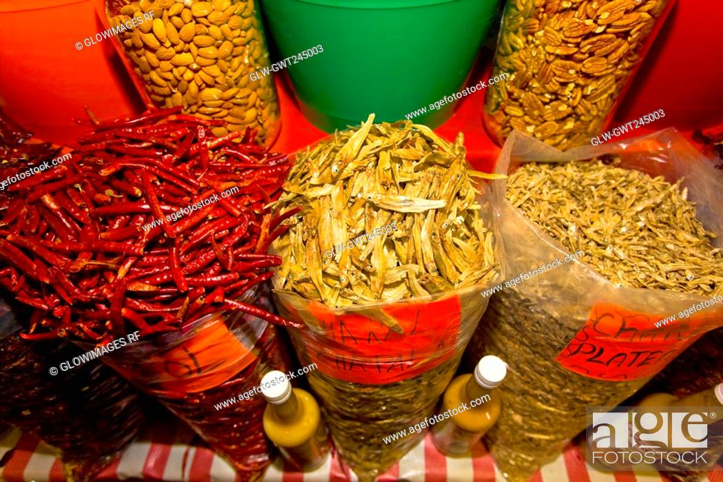 Stock Photo: Spices at a market stall, Xochimilco, Mexico.