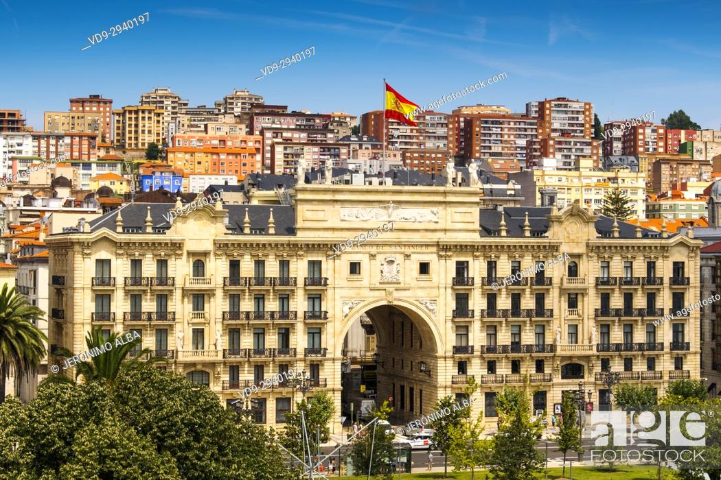 Stock Photo: Cityscape. Santander bank headquarters. Santander, Cantabrian Sea, Cantabria, Spain, Europe.