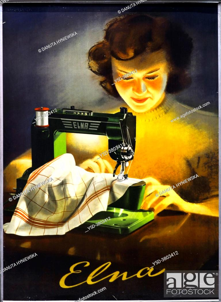 Imagen: Anonymous poster from 1946 titlled 'Elna'. Elna is Swiss brand of sewing machine, founded in 1934 in Meyrin in canton Geneva.