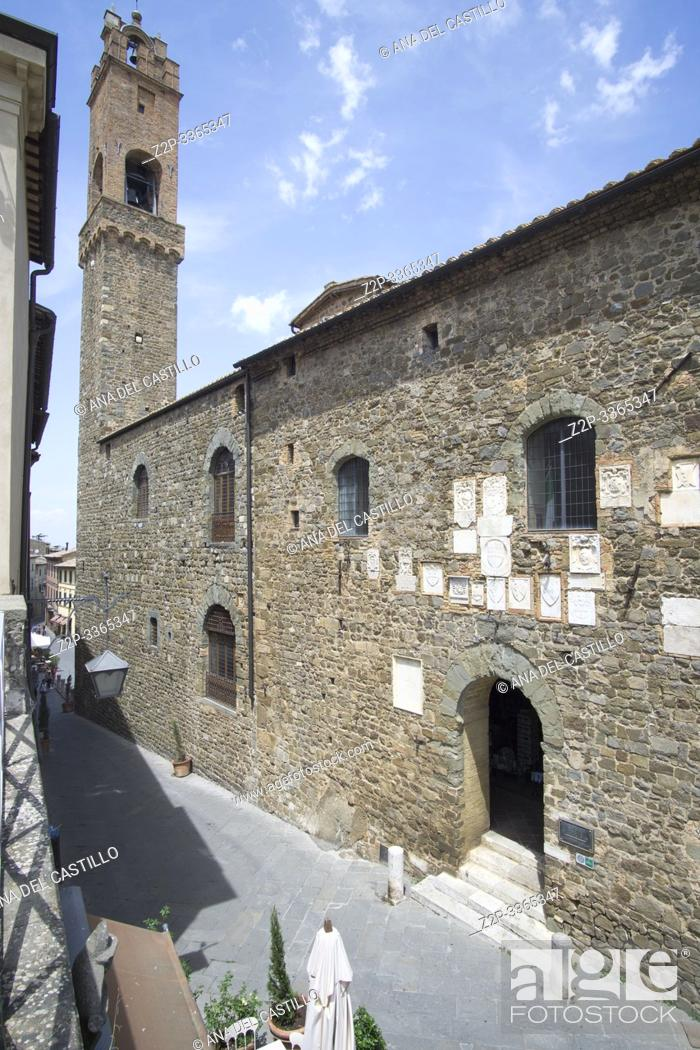 Stock Photo: Montalcino, one of the most beautiful villages of Italy Tuscany Italy on July 7, 2019. Palazzo Pretorio.