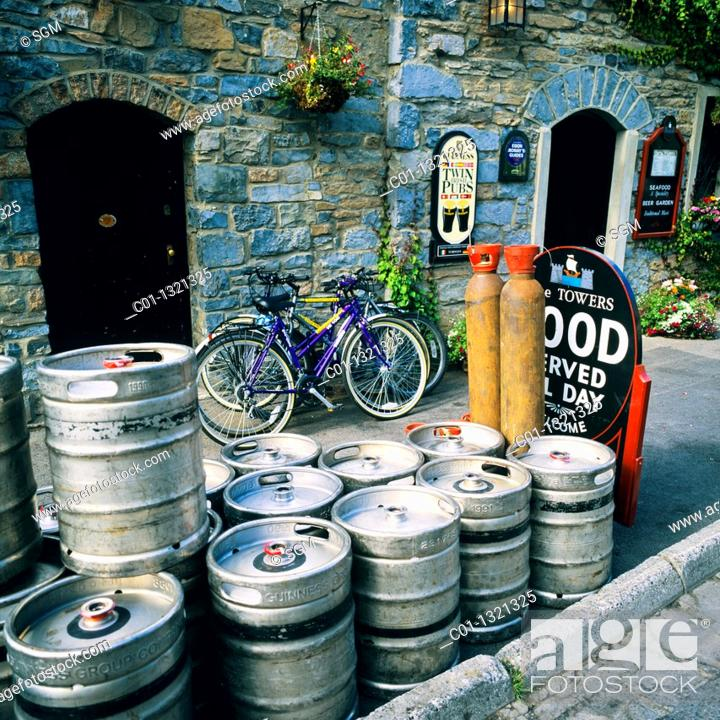 Stock Photo: Empty beer barrels outside pub, Westport, County Mayo, Ireland.