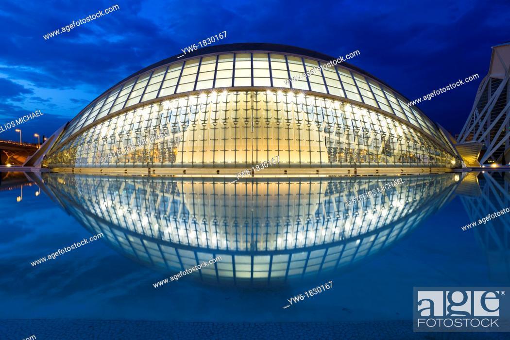 Stock Photo: L'Hemisferic, The City of Arts and Science, designed by Santiago Calatrava, Valencia, Spain.