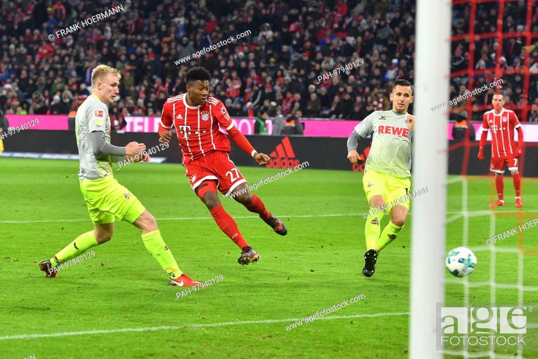 Imagen: goalchance David ALABA (FC Bayern Munich), Aktion, Schuss, Strafraumszene, li: Frederik SOERENSEN (1.FC Cologne), re:Pawel OLKOWSKI (1.FC Cologne).