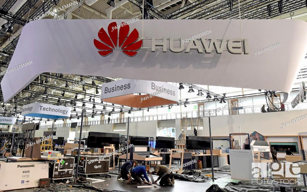 Exhibition Stall Xl : The huawei stall gets set up at the trade fair area in the halls of