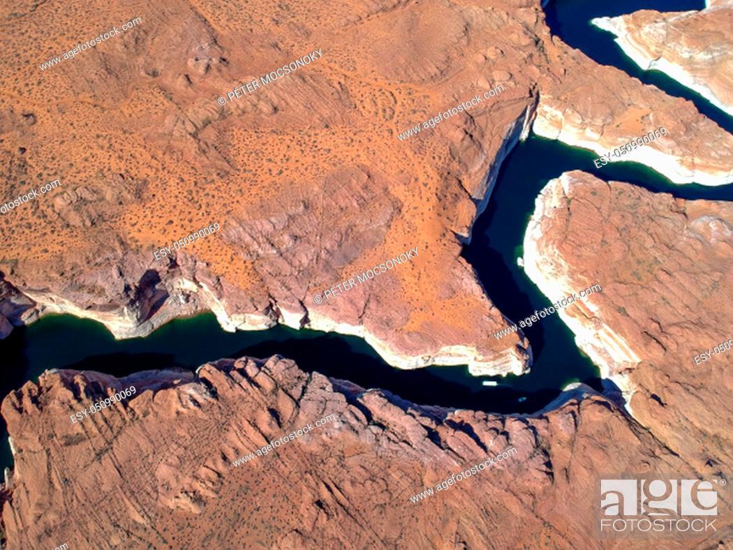 Stock Photo: Aerial view of Lake Powell within Glen Canyon National Park, Arizona, USA.