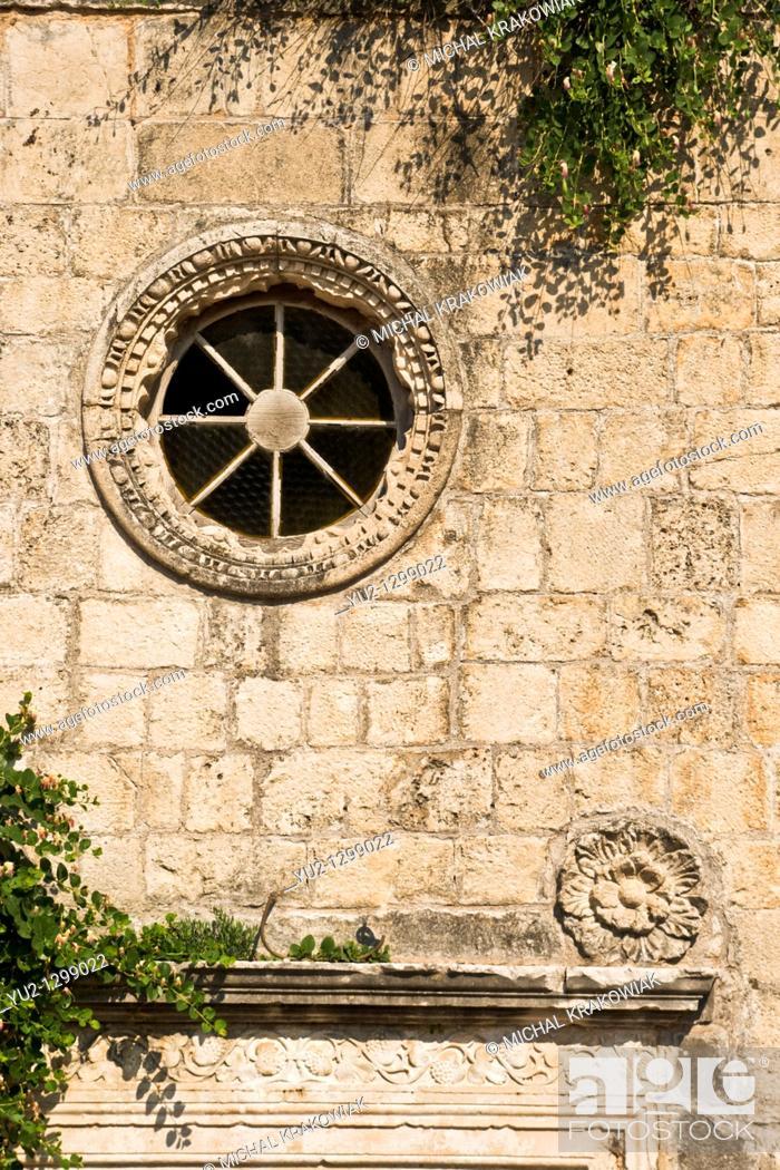 Stock Photo: Detail of church in Budva, Montenegro.