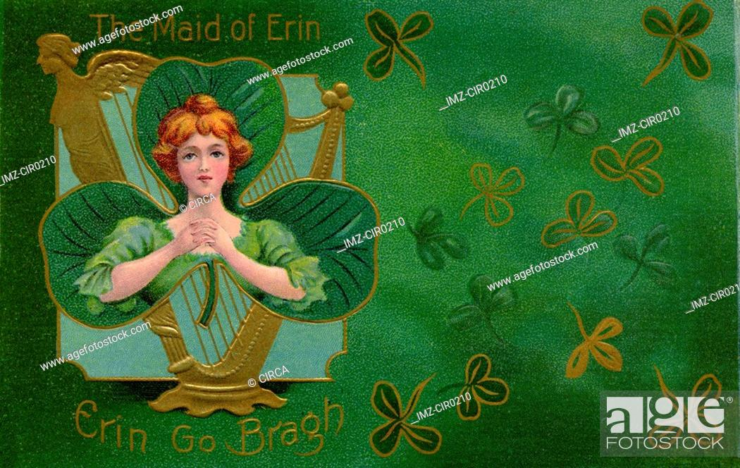 Stock Photo: A vintage illustration of The Maid of Erin surrounded by Shamrocks.