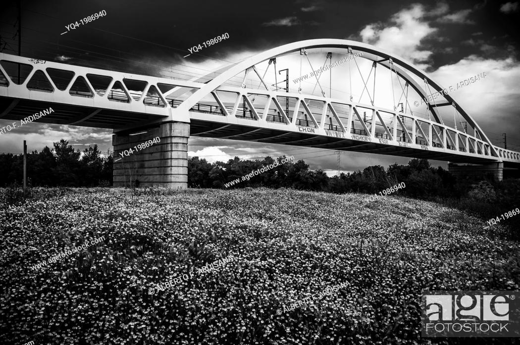 Stock Photo: Railroad Bridge, more popularly known as AVE Bridge. Zaragoza, Spain.