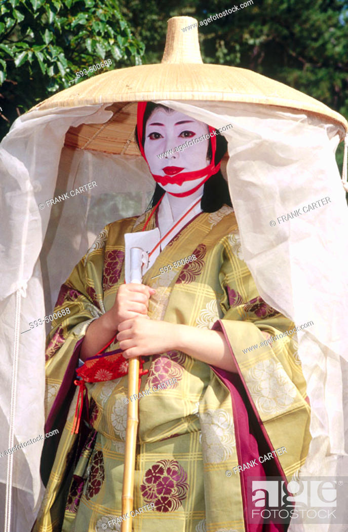 Stock Photo: A costumed participant in the Jidai Matsuri representing Madame Fujiwara Tameie (Abutsuni), wearing the travelling dress mentioned in her diary.