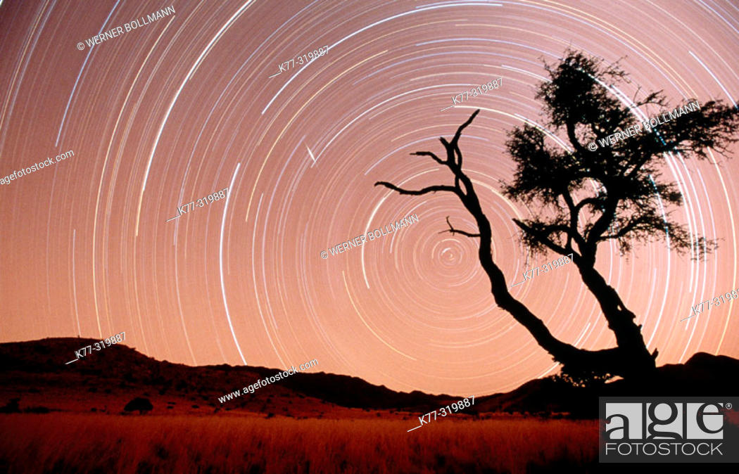 Stock Photo: Star trails. Namib-Naukluft Park. Namib Desert. Namibia.