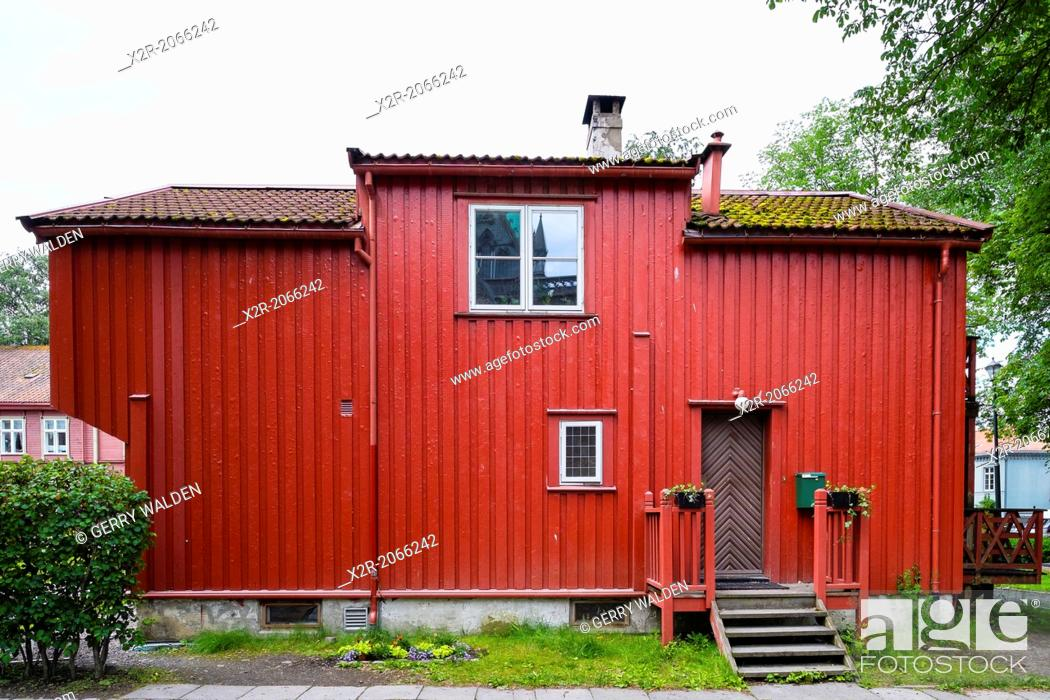 Stock Photo: Old timber building close to the cathedral in Trondheim, Norway.