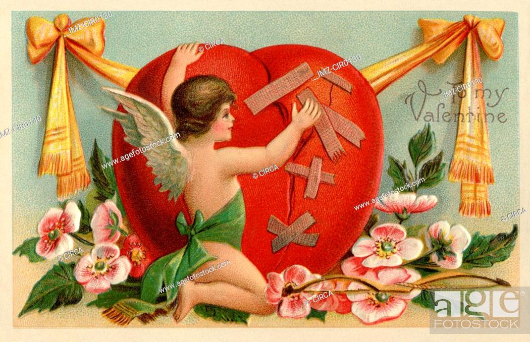 Stock Photo: A vintage Valentines card with a cherub patching up a broken heart.