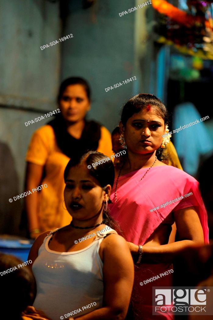 Stock Photo: Prostitutes in kamathipura ; Bombay Mumbai ; Maharashtra ; India NO MR.