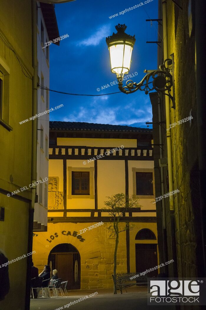 Stock Photo: Haro is a medieval village in La Rioja Spain.Old town at dusk.