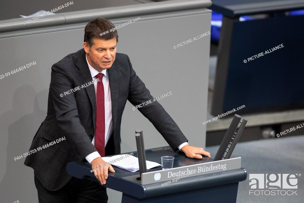 Stock Photo: 03 July 2020, Berlin: Axel Müller (CDU) speaks in the plenary session of the German Bundestag. The main topics of the 171st session of the 19th legislative.