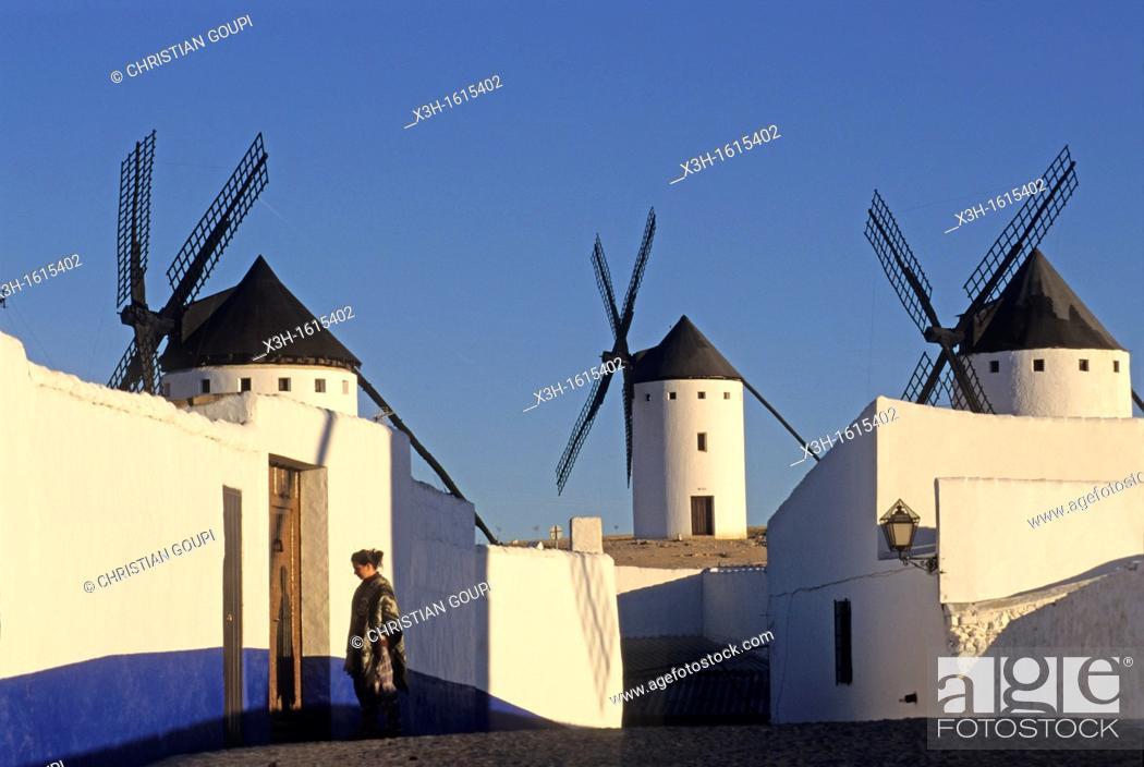 Stock Photo: Windmills in Campo de Criptana, Province of Ciudad Real, autonomous community Castile-La Mancha, Spain, Europe.