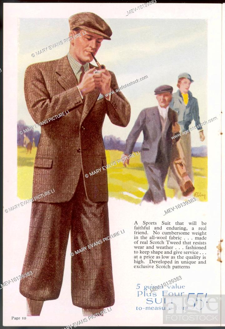 Stock Photo - Highland tweed sports suit of single-breasted jacket   plus-  fours worn with a matching flat cap. Perfect for golfing and other outdoor  ... 32bca2318ad