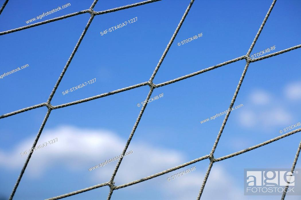Stock Photo: Close-up of a goal net.