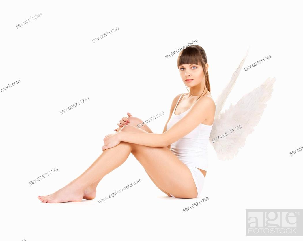 Stock Photo: bright picture of white lingerie angel girl.