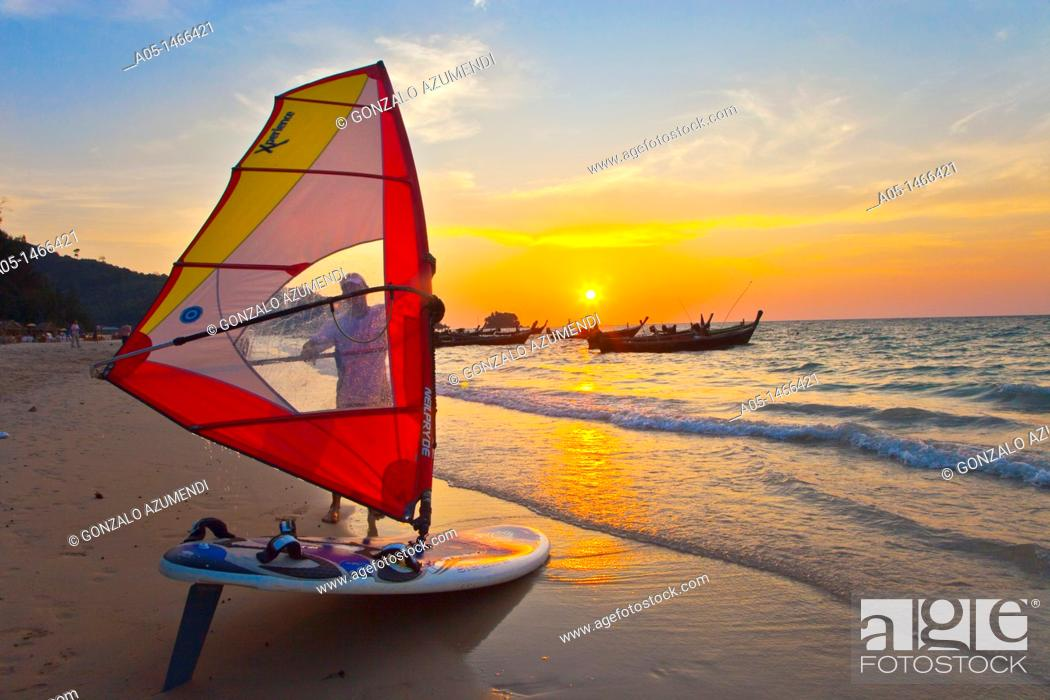 Stock Photo: Windsurfer in the Nai Yang beach, Phuket, Thailand.