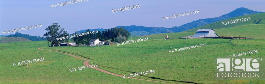 Stock Photo: Farm House and Barn in Spring, Route 1 near Cambria, California.