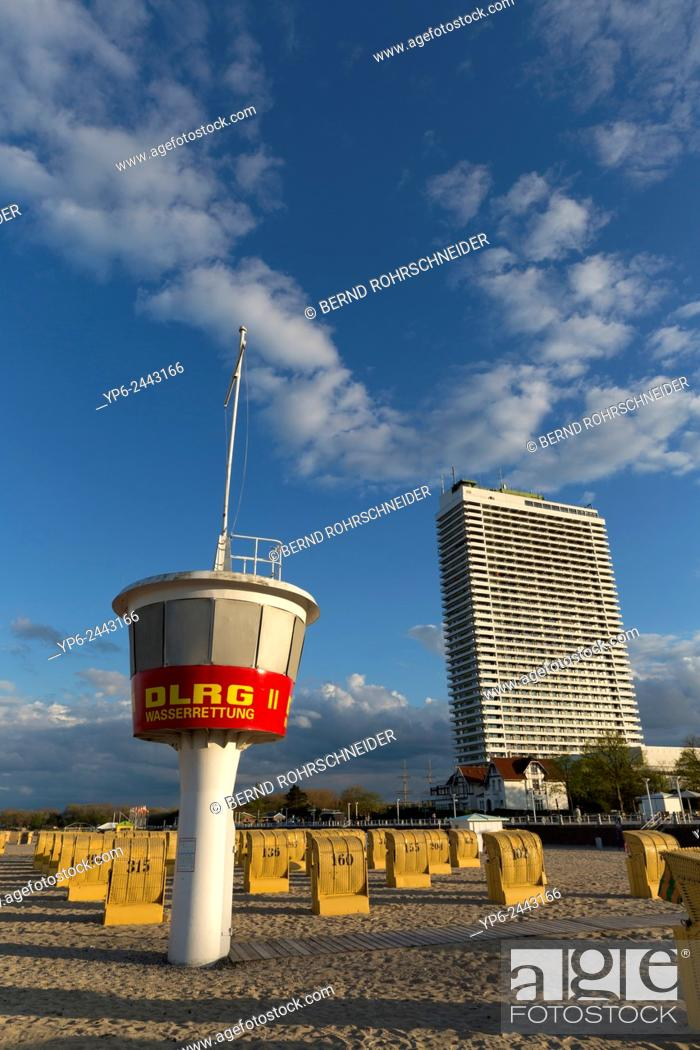 Stock Photo Beach At The Baltic Sea With Chairs Liuard Tower And High Rise Hotel Travemünde Schleswig Holstein Germany