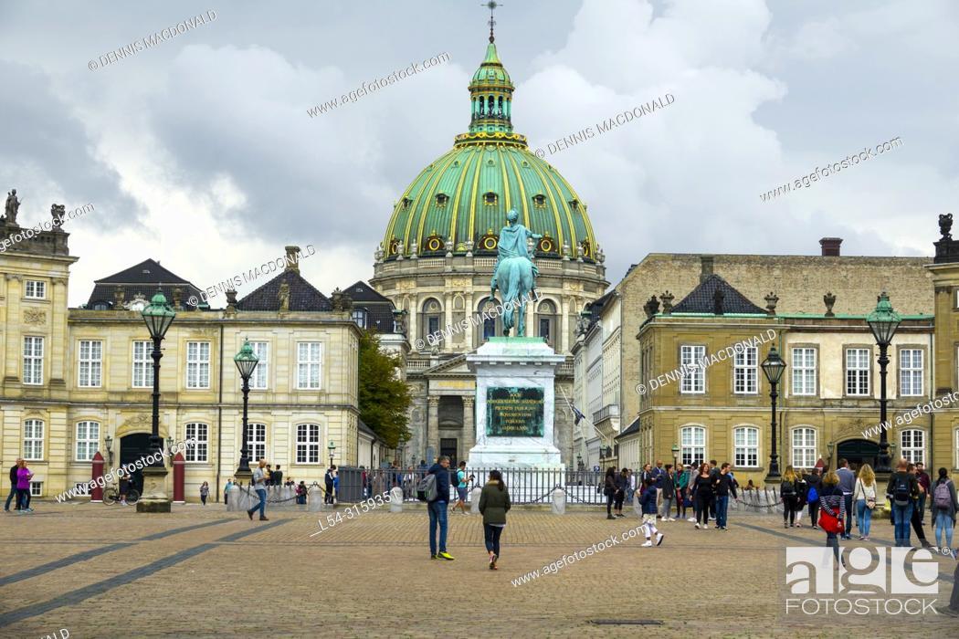 Stock Photo: Equestrian statue of Amalienborg's founder King Frederick V in Amalienborg Palace courtyard Copenhagen Denmark capital city.