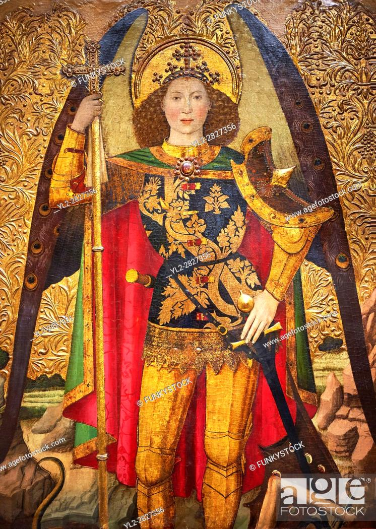 Stock Photo: Gothic Altarpiece of the Archangel Gabriel by Jaume Huguet of Bardalona, circa 1455-1460, tempera and gold leaf on for wood from Santa Maria del Pi, Barcelona.