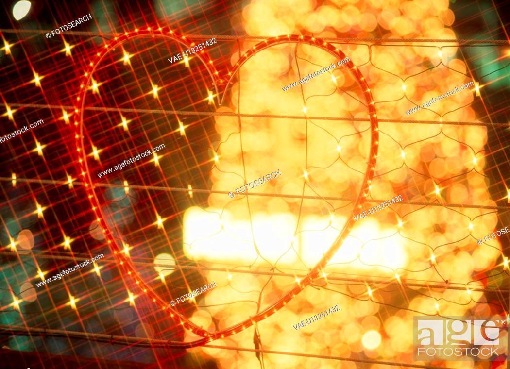 Stock Photo: Illuminated Hearts.