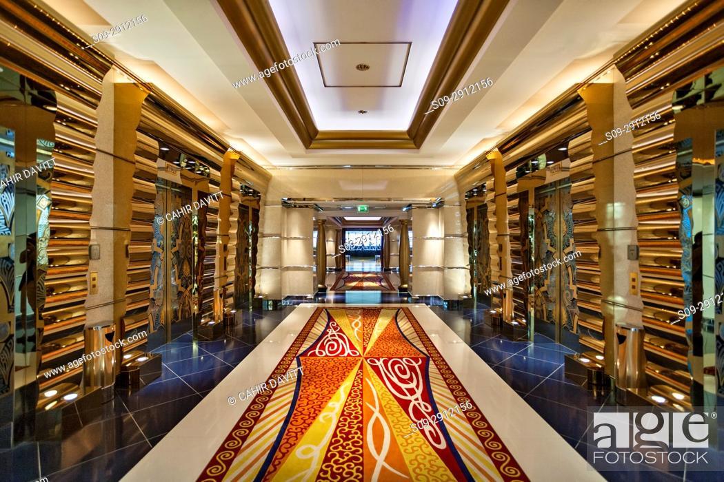 Interior Lift Lobby Of The Luxury 7 Star Burj Al Arab Hotel Designed