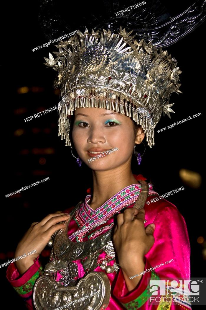Stock Photo: Portrait of a teenage girl smiling, Guilin, Guangxi Province, China.