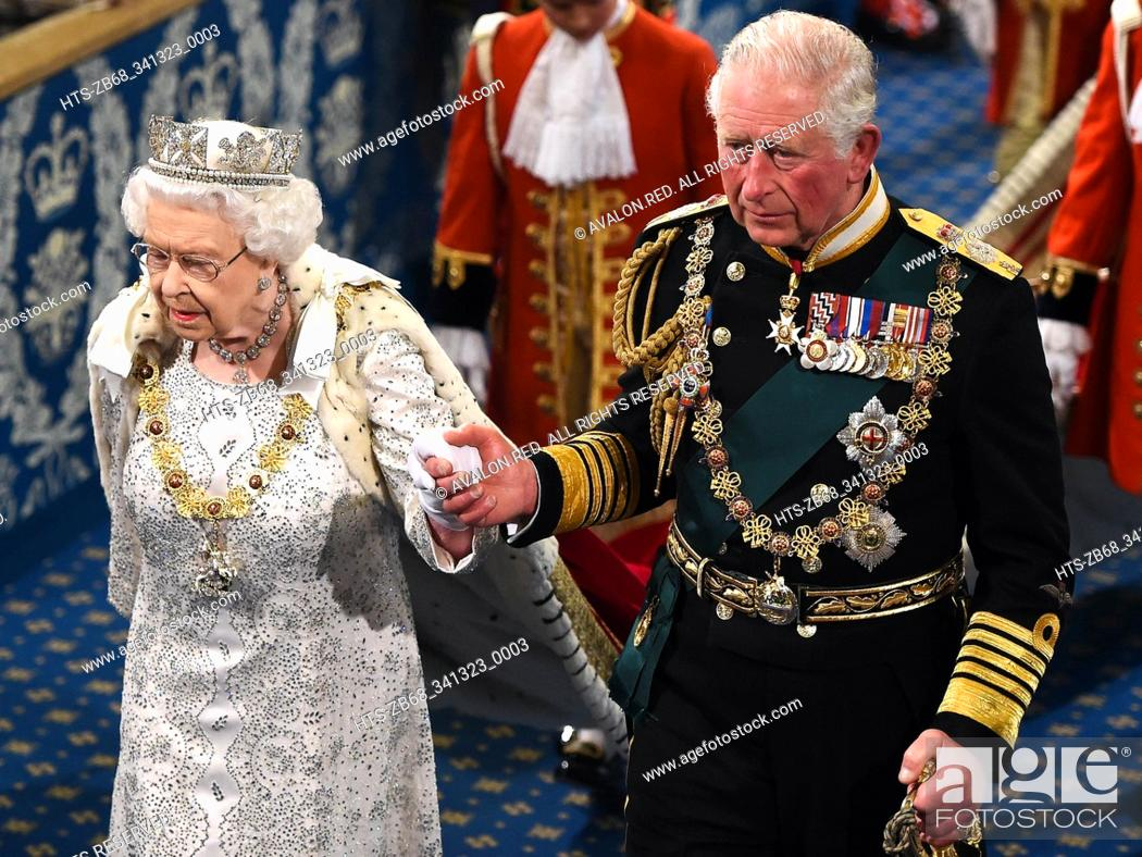 Stock Photo: London, United Kingdom. State Opening of Parliament. Royal Gallery.  Her Majesty Queen Elizabeth II, accompanied by Prince Charles.