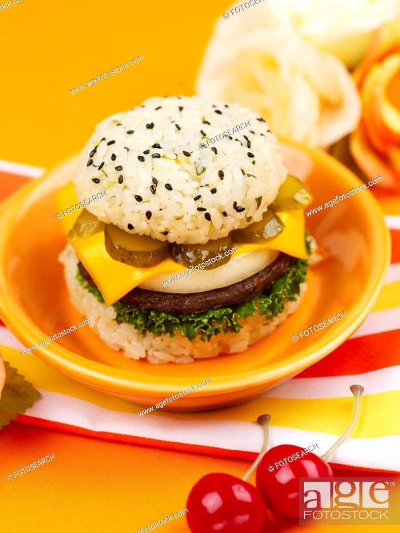 Stock Photo: artificial flower, pan, flower, cherry, table mat, food styling, rice burger.