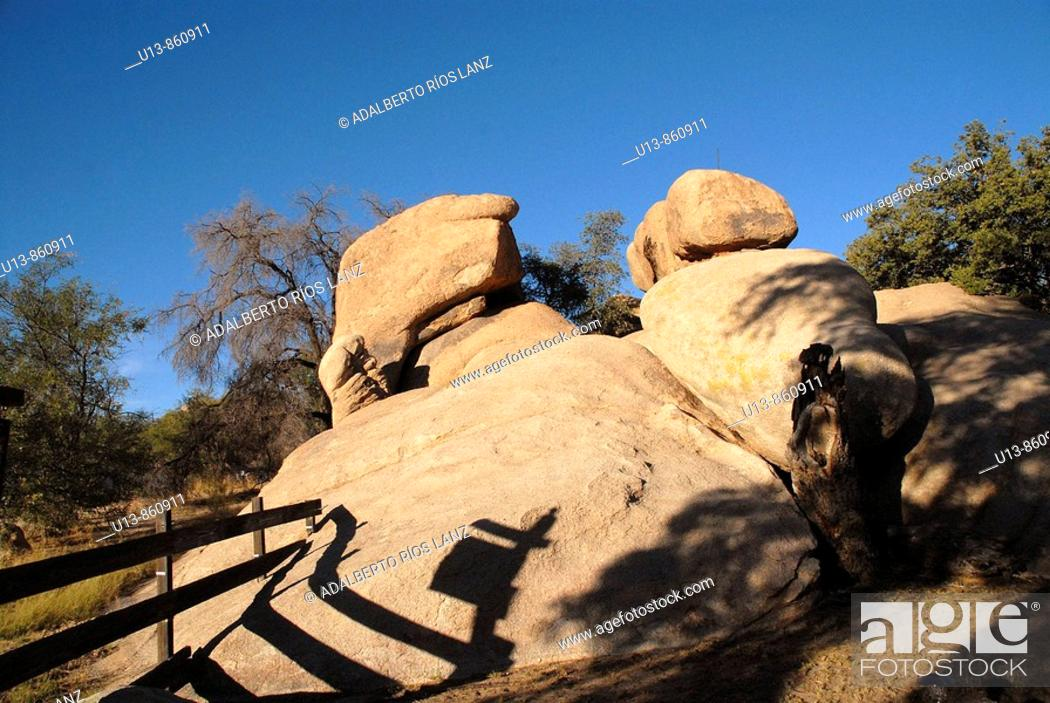 Stock Photo: Boulders and Fence at Triangle T Guest Ranch at Texas Canyon, Arizona, USA.
