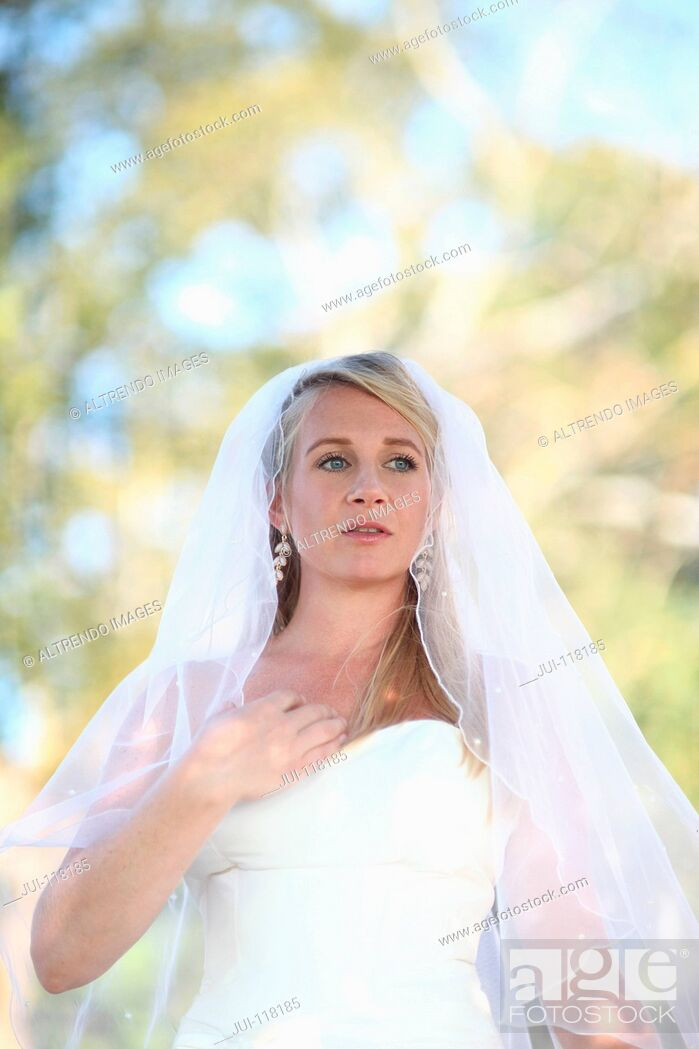 Stock Photo: Bride Wearing Dress Outdoors On Wedding Day.