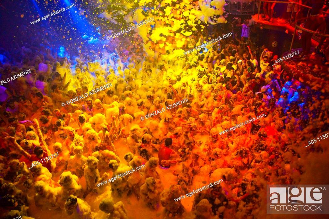Stock Photo: Foam Party.  Amnesia Discoteque. San Rafael. Ibiza. Balearic Islands. Spain.