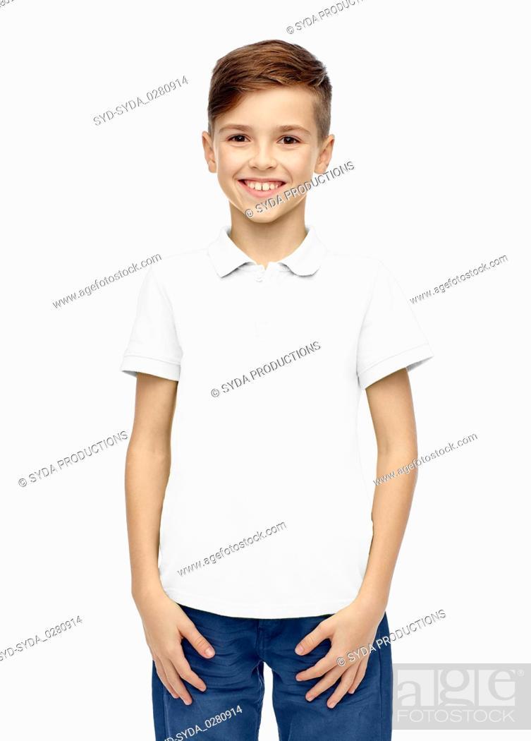 Stock Photo: happy boy in white blank polo t-shirt.