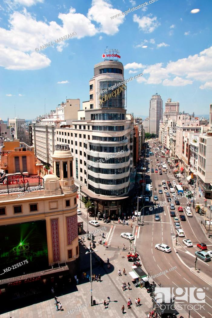 Stock Photo: Gran Via skyline, Madrid.