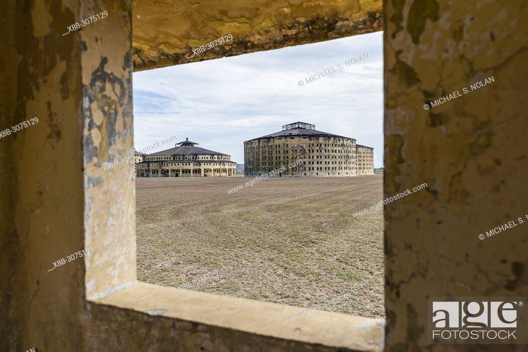 Stock Photo: Exterior view of the Presidio Modelo, Model Prison, built in the late 1920's on Isla de la Juventud, Cuba.