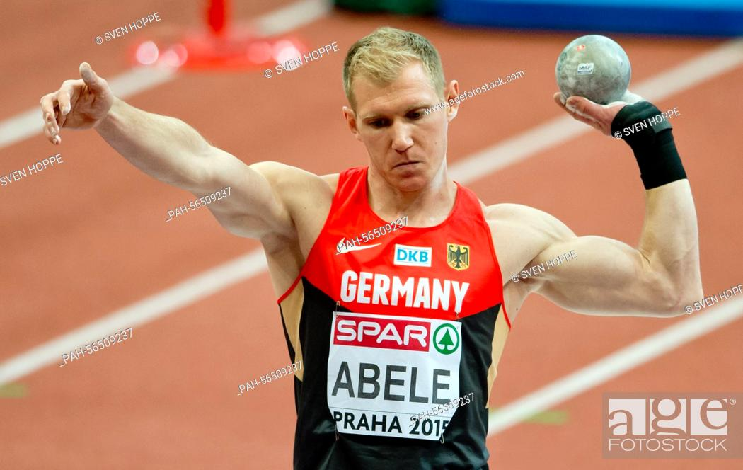 Stock Photo: Arthur Abele of Germany in action during the men's Heptathlon shot put at the IAAF European Athletics Indoor Championships 2015 at the O2-Arena in Prague.