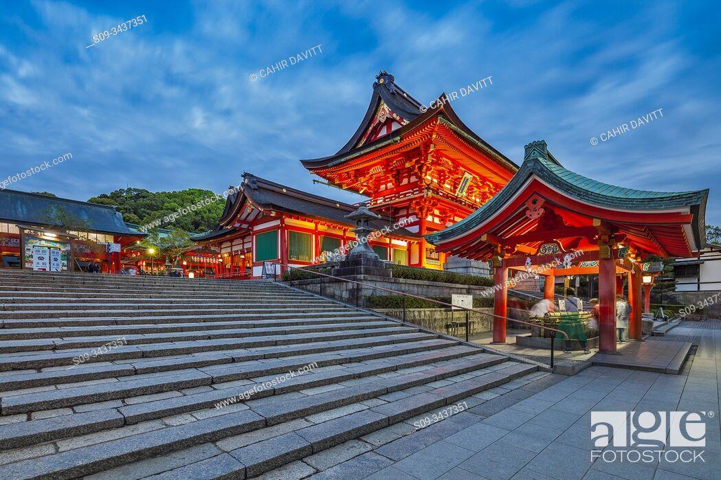 Stock Photo: Fushimiinari Shrine Gehaiden & Fushimi Inari Jinja Romon no Kitsune Shrine in the Shinto Fushimi Inari Taisha Shrine at twilight, Fukakusa, Shimoseya, Kyoto Fu.